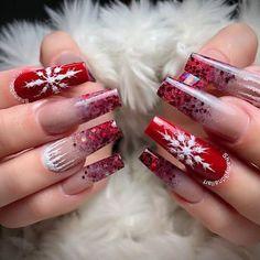 Acrylic Nail Set, Cute Acrylic Nail Designs, Blue Acrylic Nails, Summer Acrylic Nails, Cute Christmas Nails, Xmas Nails, Christmas Nail Designs, Birthday Nail Designs, Birthday Nails