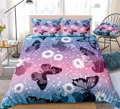 Adorable Butterfly Bedding Set Pillow Shams, Pillow Cases, Pillows, Butterfly Bedding Set, Bed In A Bag, Cotton Duvet, Gifts For Teens, Clean Design, Beautiful Patterns