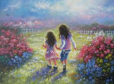 Garden Sisters Art Print from Oil Painting by VickieWadeFineArt