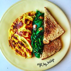 Rosemary Mint Omelet: •Fry onions, mushrooms, spinach, fresh mint leaves, and Rosemary in olive oil, paprika, and garlic. •The omelet has 2 eggs scrambled with pepper and a splash of milk. Once the eggs have cooked a bit, add the veggies and a sprinkle of mozzarella before folding it over. •Sauté spinach leaves and mushrooms in olive oil and garlic.