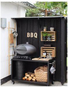 Small Outdoor Kitchens, Outdoor Bbq Kitchen, Outdoor Cooking Area, Outdoor Kitchen Design, Outdoor Rooms, Outdoor Living, Outdoor Grill Area, Small Bbq, Back Garden Design