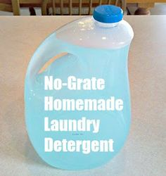 "No-Grate Homemade Laundry Soap! A ""grate"" alternative for those ""allergic"" to grating and cooking soap. :-)"