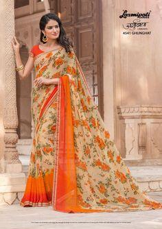 Buy this Scenic Multicolor Georgette Printed Saree and Orange Rawsilk Blouse along with Rawsilk Lace Border from Laxmipati Saree. #Catalogue #JAMUNIA #DesignNumber: 4541 #Price - ₹ 1475.00  #Bridal #ReadyToWear #Wedding #Apparel #Art #Autumn #Black #Border #MakeInIndia #CasualSarees #Clothing #ColoursOfIndia #Couture #Designer #Designersarees #Dress #Dubaifashion #Ecommerce #EpicLove #Ethnic #Ethnicwear #Exclusivedesign #Fashion #Fa Laxmipati Sarees, Indian Sarees, Silk Sarees, Floral Print Sarees, Printed Sarees, Saree Shopping, Casual Saree, Dubai Fashion, Fancy Sarees