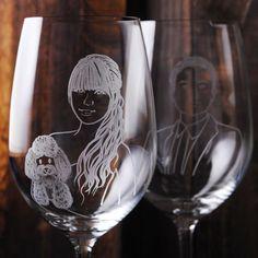 (一對價)425cc【MSA肖像結婚對杯】(寫實版)肖像寵物玻璃雕刻紅酒杯組 情人節 七夕 結婚禮物