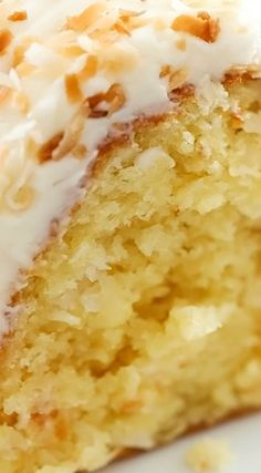 Coconut Bundt Cake ~ This is an incredibly moist cake loaded with coconut flavor. The Cream Cheese Frosting on top is the perfect pairing - This cake will be loved by all who try it! # coconut Desserts Coconut Bundt Cake - Chef in Training Kokos Desserts, Coconut Desserts, Coconut Recipes, Just Desserts, Baking Recipes, Delicious Desserts, Coconut Cakes, Coconut Cream Bundt Cake Recipe, Coconut Cake Easy