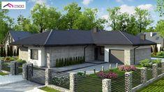 Gotowy projekt domu - Parterowy dom z odwróconym układem, garażem oraz dachem wielospadowym.