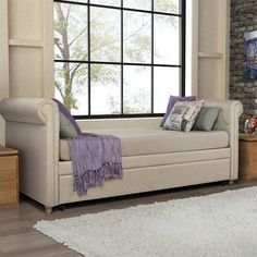 DHP Sophia Upholstered Twin Daybed with Trundle in Tan Transitional | eBay