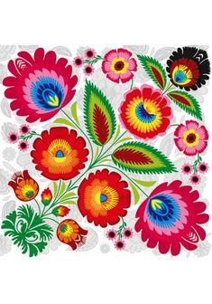 Hungarian Embroidery, Folk Embroidery, Learn Embroidery, Embroidery Patterns, Polish Embroidery, Bordado Popular, Polish Folk Art, Bordados E Cia, Paper Napkins For Decoupage