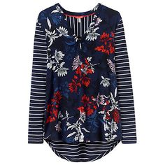 Buy Joules Beatrice Long Sleeve Print Stripe Top, French Navy Floral Online at johnlewis.com