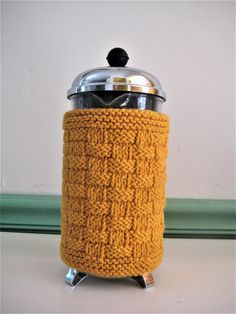 Bright Gold Basketweave Knit French Press Coffee Cozy