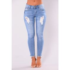Decadence Ankle Jeans Light Blue Wash ($20) ❤ liked on Polyvore featuring jeans, short pants, light blue skinny jeans, blue jeans, distressed jeans and blue ripped skinny jeans