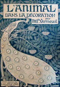Иллюстрация на обложке для портфеля стиле модерн Dans L'животного ла декорация », Морисом Пиллард Верней.  См. дополнительные иллюстрации из этого портфеля здесь.  Источник