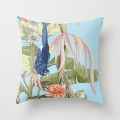 """""""Palm Beach Paradise"""" with parrots by artist Allison Cosmos. Beautiful pillows for tropical interiors."""