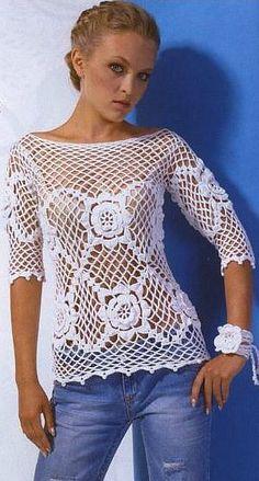 Crochet Dress Crochet Pullover Crochet Top por idafrompushkin