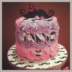 Girly mustache cake by Jen Kwasniak
