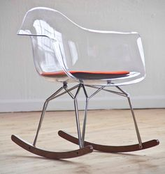 2014 Nursery Trend: Lucite! How fab is this mod rocking chair from Kubikoff Collection?! #lucite