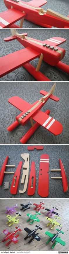 Avion de course puzzle par Philippe Gelard - Vestido Tutorial and Ideas Small Wood Projects, Craft Projects, Woodworking Toys, Woodworking Projects, Puzzles 3d, Wooden Airplane, Toy Art, Kids Wood, Wood Toys