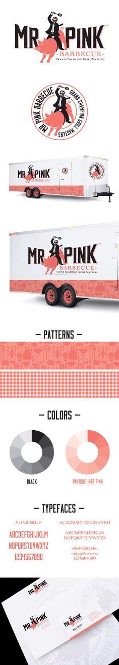 Mr. Pink BBQ logo design & branding package