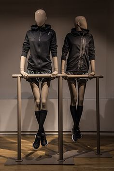 """HANS BOODT MANNEQUINS, (Female Sport Movement), Zwijndrecht, The Netherlands, """"Listen Victoria... As your workout partner , I must ask you to quit suggesting the bar instead of the gym"""", pinned by Ton van der Veer"""