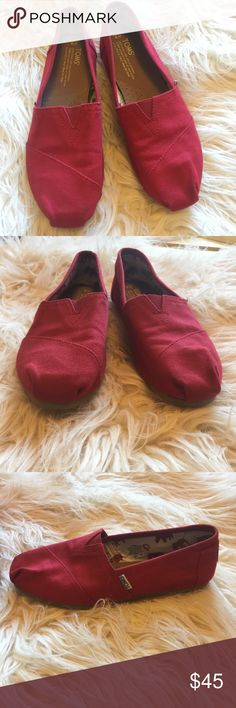 Red Toms Red Toms, women's size 8, barely worn! No stains! Toms Shoes Flats & Loafers