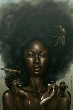 September 8 is the Feast Day for the Orisha and Goddess Oshun – Her laughter fills our spirits and She urges us to dance and LIVE LIFE. Oshun is my Guardian Orisha and my lif… Art Black Love, Black Girl Art, Art Girl, Color Black, Natural Hair Art, Pelo Natural, Natural Hair Styles, African American Art, African Art