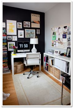 Contrast wall + well-organized office space ideas via Urban Scarlet
