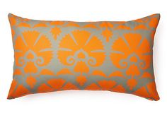 A striking, stylized floral motif really comes to life in vibrant color on this cushion. Outside or in, this pillow adds a flash of stylish flair. Printed on both sides.