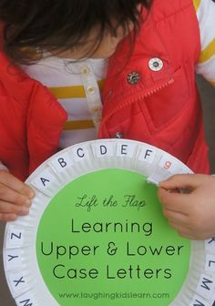 Have your child learn upper and lower case letters using paper plates. It's an easy teaching tool to make and is a fun way for children to learn literacy. Teaching Letters, Teaching Aids, Learning The Alphabet, Alphabet Activities, Hands On Activities, Literacy Activities, Early Learning, Fun Learning, Preschool Learning