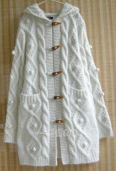 Hırka modelleri yapılış şekli Knitting For BeginnersKnitting HatCrochet PatronesCrochet Scarf Knitting Patterns Free, Knit Patterns, Free Knitting, Baby Knitting, Long Sweater Coat, Long Sweaters, Knit Cardigan, Tricot D'art, Knitted Coat