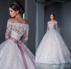Luxurious Ball Gown Princess Lace Wedding Dresses 2017 New Off the Shoulder Long Sleeves Chapel Train Tulle Appliques Beads Bridal Gowns Disney Wedding Dress, 2016 Wedding Dresses, Princess Wedding Dresses, Bridal Dresses, Dresses 2016, Cinderella Wedding, 2017 Wedding, Bridesmaid Gowns, Budget Wedding