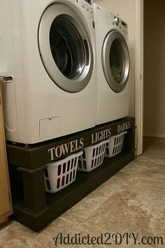 DYI project for the laundry room... maximize your space, time and clutter! Great idea!