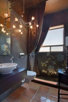 Luxury Shower Curtains for Extravagant Style Bath: Unique Bathroom Design In Rustic Touch Used Concrete Tile Flooring Combined With Brown Luxury Shower Curtains Design Ideas ~ sfxit.com Bathroom Inspiration