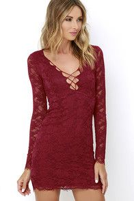 Sexy Wine Red Dress - Bodycon Dress - Lace-Up Dress - $49.00