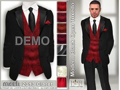 Black Tux Red vest with Black Tie for Groomsmen