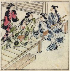 Моронобу Хисикава. Двое молодых людей на веранде дома развлечений с тремя женщинами. 1683.