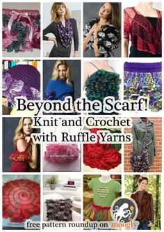Ruffle yarns can make more than the ubiquitous twirly scarf! Here are 16 free pa… Ruffle yarns can make more than the ubiquitous twirly scarf! Here are 16 free patterns to knit and crochet with this fun novelty yarn! Sashay Crochet, Crochet Ruffle, Knit Crochet, Sashay Scarf, Ruffle Scarf, Crochet Scarves, Ruffle Yarn Projects, Sashay Yarn Projects, Loom Knitting