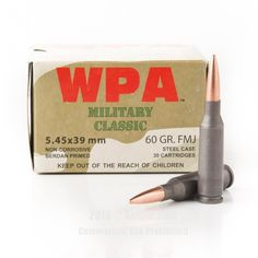 Wolf 5.45x39 Ammo - 30 Rounds of 60 Grain FMJ Ammunition #545x39 #545x39Ammo #Wolf #WolfAmmo #Wolf545x39 #FMJAmmo #WolfMilitaryClassic