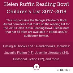 #bookvibes and other book-ish: #HELENRUFFINREADINGBOWL #READINGLIST #BOOKS are available on #ebook and/or #audiobook via #LIBBYbyOverDrive and #OverDrive from #dekalbcountypubliclibrary #eBooks | #turnupabook #theresanappforthat #scribesandvibes #bookish #recommendedreads #dekalbschools #youngreaders #teenreaders #readingbowl | #dcpldigital