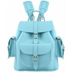 Grafea Sky Medium Leather Rucksack - Sky Blue ($225) ❤ liked on Polyvore featuring bags, backpacks, blue, genuine leather backpack, leather knapsack, real leather backpack, grafea backpack and blue backpack