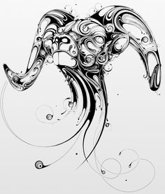 Resonate Animal Art Direction, Design Illustration by Si Scott Si Scott, Widder Tattoos, Tattoo Sketch, Capricorn Tattoo, Aries Tattoos, Aries Art, Astrology Tattoo, Pisces, Tatoos