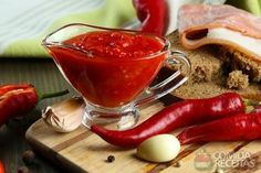 Composition with salsa sauce on bread,, red hot chili peppers and garlic, on sackcloth, on wooden background No Salt Recipes, Sauce Recipes, Sweet Recipes, Cooking Recipes, Healthy Recipes, I Love Food, Good Food, Yummy Food, Sauce Creme