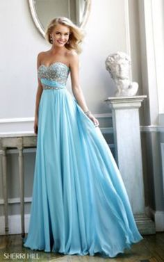 Aqua Sherri Hill 3914 Prom Dress Long