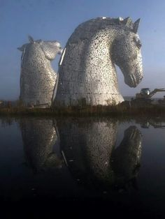 The Kelpies. The Kelpies are 30 metre high horse head sculptures, standing next to the Forth and Clyde Canal in Falkirk, Scotland