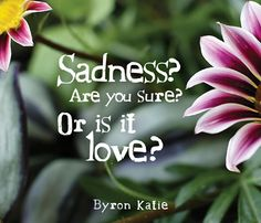Sadness? Are you sure? Or is it love? Byron Katie #positive #quotes