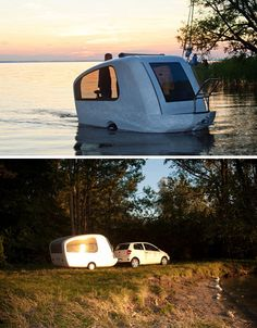 A hybrid mobile trailer, mini-home and motorboat, this ingenious portable space has gotten off the ground quickly (and literally).