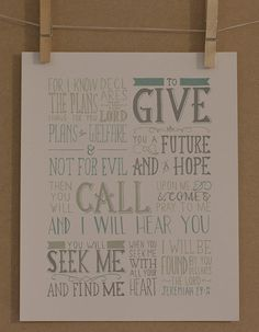Jeremiah 29:11-14 Hand Lettered Scripture Verse by HandLetteringCo, $8.00