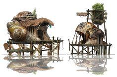 house on stilts concept art Concept Art World, Environment Concept Art, Environment Design, Game Design, Prop Design, Fantasy Landscape, Fantasy Art, Fantasy House, Decoration Pirate