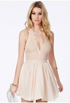 Missguided - Nurit Halterneck Lace Detail Puffball Mini Dress In Nude
