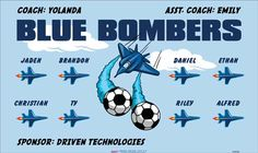 Bombers-Blue-154702  digitally printed vinyl soccer sports team banner. Made in the USA and shipped fast by BannersUSA. www.bannersusa.com