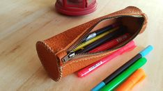 LEATHER PEN/PENCIL CASE/POUCH This item is ready to ship. It is as seen in the images. I also accept and make custom orders. This item is made of genuine leather and handcrafted 100%. I offer other variations in terms of color. I will enter this information along with this post